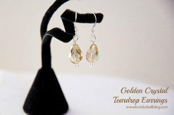 Golden Crystal Teardrop Earrings - Mother's Day gift idea