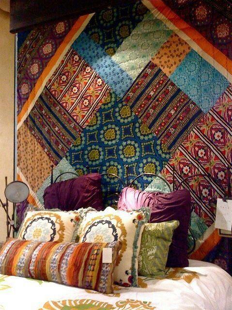 Bohemian patchwork wall - Anthropologie Boho Lifestyle Pinterest