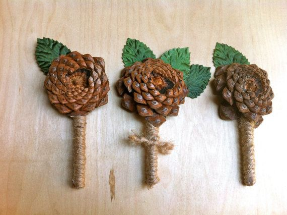 Pine Cone Boutonniere: Rustic Fall Wedding Decorations. - Examples of: Burlap Wrapped Letters, Pine Cone Bouquet, Getting Hitched Banner, Custom Fall Leaf Aisle Runner, Rustic Wood Heart Cake Topper & Pine Cone Garland.