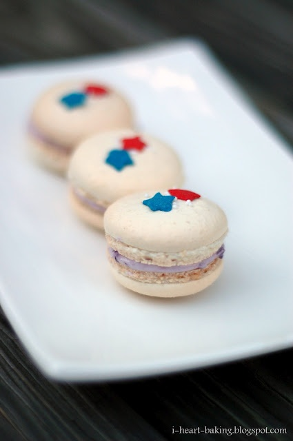fourth of july - red white and blue blueberry macarons