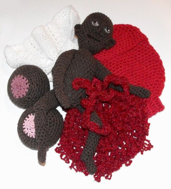 Crochet Uterus : Crochet baby, pelvis, placenta and boobs!