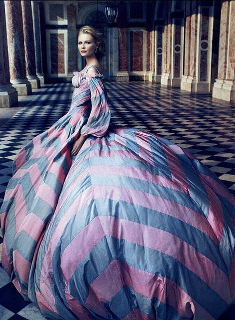 Kirsten Dunst chaneling her Marie Antoinette for Vogue - large chevron print, periwinkle & pink couture ball gown