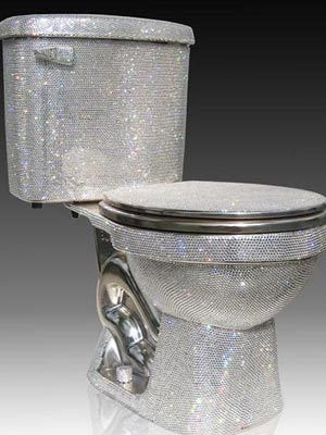 The most expensive household items  Swaroski crystal toilet - $75,000  This toilet is the epitome of bathroom couture. Designed by Jemal Wright, this toilet is for those who love glitz (well for those who can afford it!) Photo by Swaroski Nov 15, 2011.......it needs to come in pink
