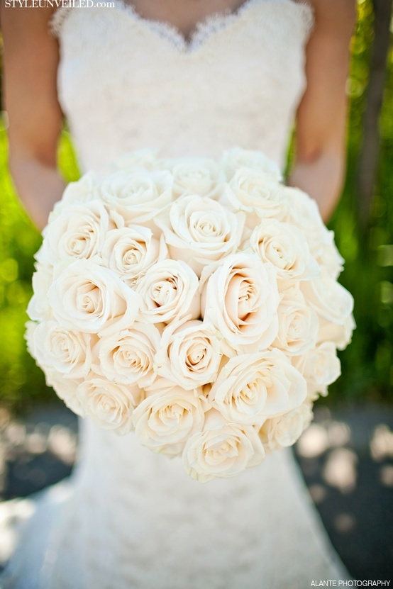 Pictures Of Wedding Bouquets Roses : All white rose bridal bouquet wedding