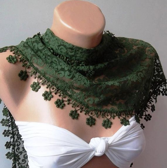 Green  lace and Elegance Shawl / Scarf  with Lace Edge by womann, $19.00