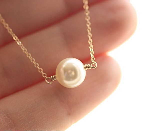 pearl solitaire bridal necklace