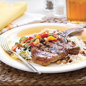 Grilled Basil-and-Garlic Pork Chops | 19 Minutes | SouthernLiving.com