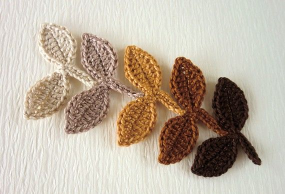 Crocheting Leaves : Crochet Leaves- this links to the Etsy site where these appliquEs are ...