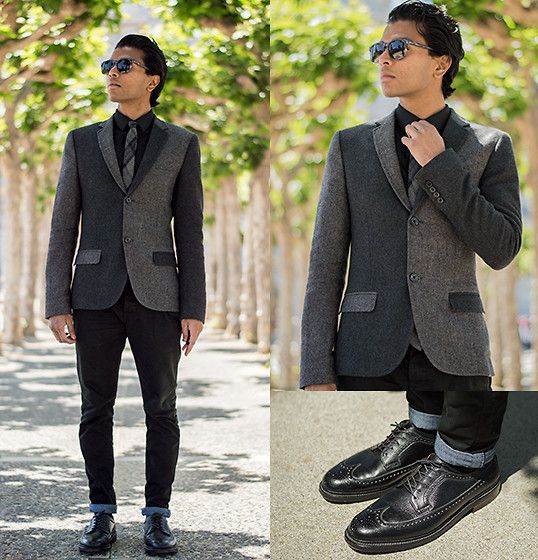 Lookbook user Josh W. | Topman Patchwork Blazer, Alden Shoes | #WorkItWednesday #Alden Shoes are available on www.TheShoeMart.com