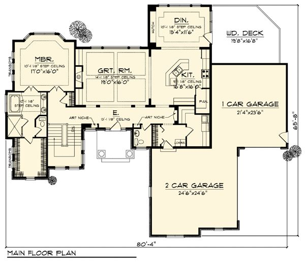 Contemporary craftsman ranch traditional house plan 73307 Modern ranch floor plans