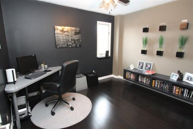 Gray office with dark wood floors enhance the house for Office design grey