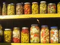 Pickled peppers, eggs, okra, jalapenos , quail eggs , beans...etc