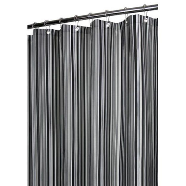 ... Grey, Black, & White Vertical Stripe Watershed Prints Shower Curtain