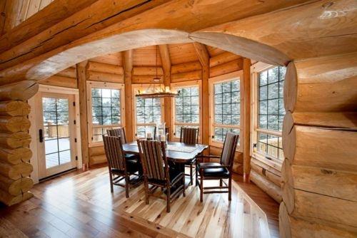 Interior Design Interiors Cabin Cottage Wood Wooden Log Cabin Kitchen