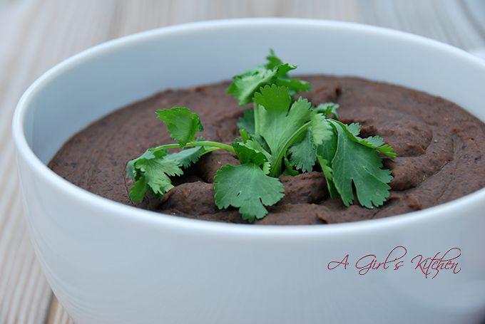 Black Refried Beans | AGirlsKitchen.com Recipes | Pinterest