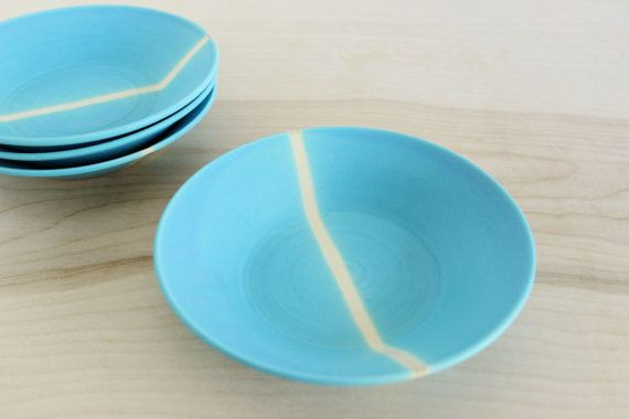 Two Small Aqua Turquoise Blue Hand Thrown Ceramic Pottery