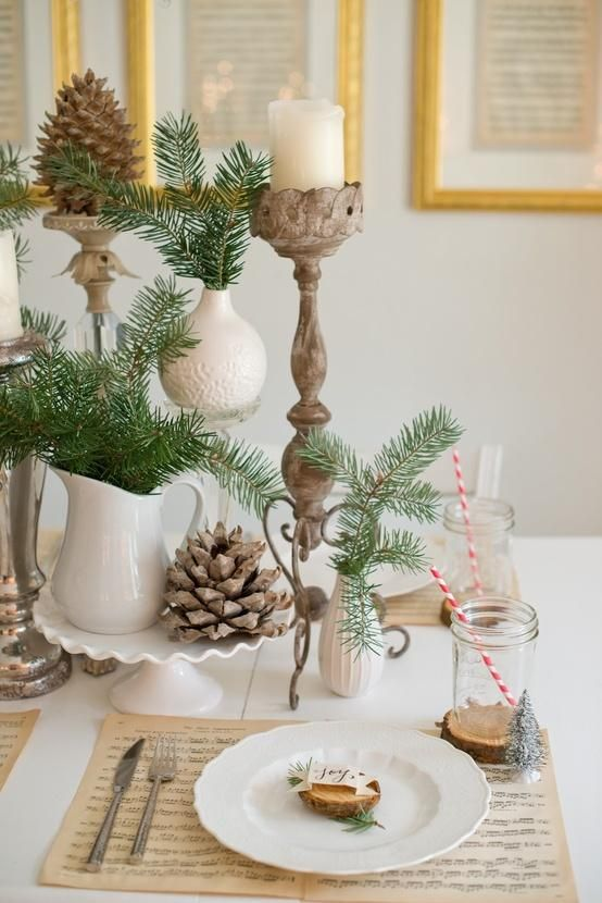 Domestic Fashionista: Natural Christmas Tablescape - make your centerpiece out of objects you already have and add some greenery!