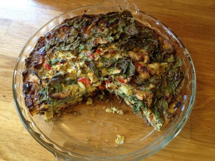 My own Spinach/Shitake Quiche with Lentil/quinoa crust. Yummy!!!!