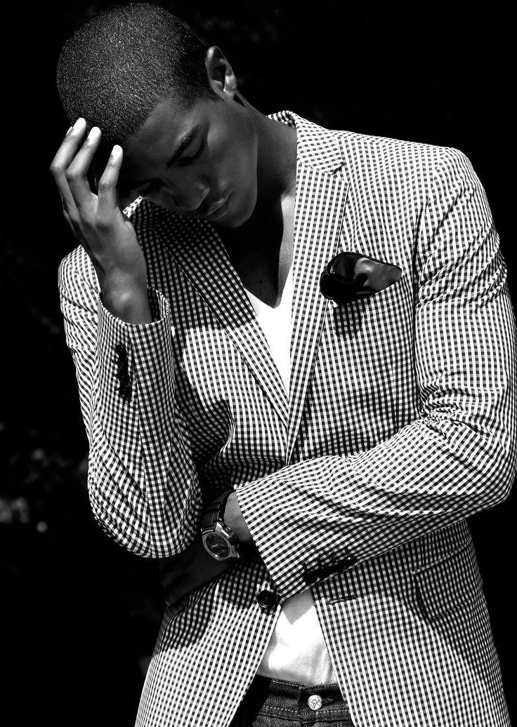 Wendell Lissimore... Mens checkered blazer and white v neck t-shirt