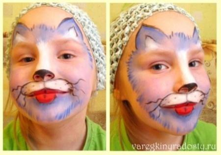 Аквагрим кот мастер класс - Ванильный Носорог