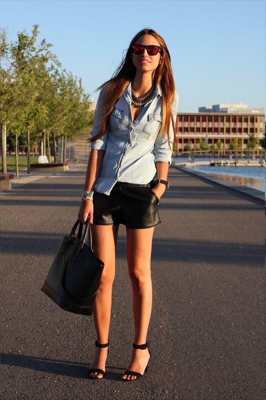 chambray + leather shorts