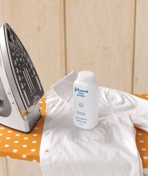 Baby Powder as Stain Guard    Sprinkle a little on the shirt's underarms and collar, then iron to prevent sweat stains on white shirts. The powder forms a barrier that keeps oil and grime from seeping into the threads.