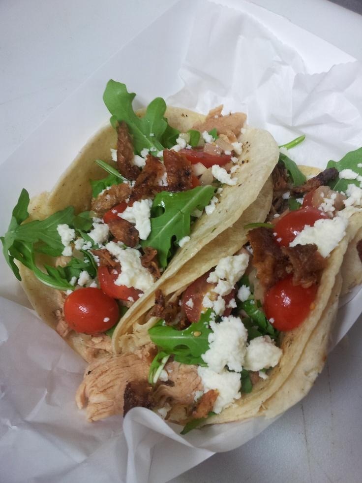 chicken tacos, local salsa fresca, arugula, queso fresco