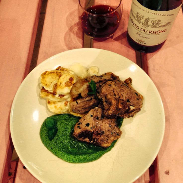 My lamb chops with mint and pea purée (and a cheeky bottle of red to ...