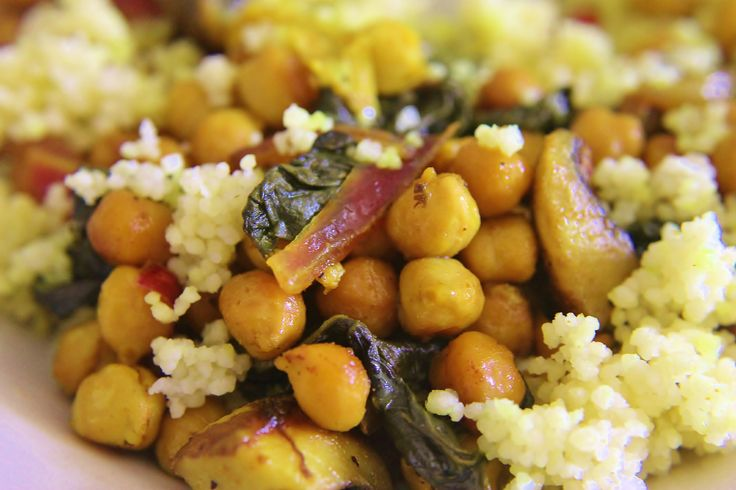 Garbanzo beans, chard, onions, mushrooms over couscous. Sauteed with ...
