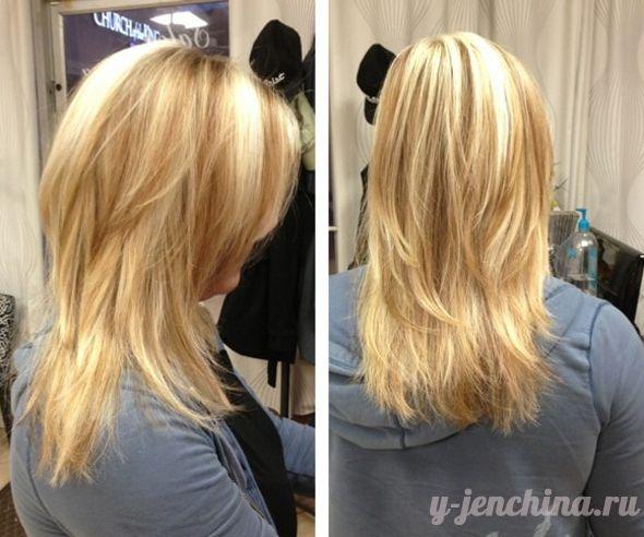 Стрижка каскад на средние волосы вид спереди и сзади