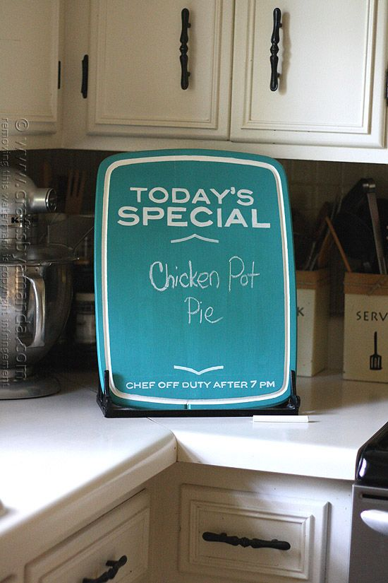 Chalkboard Menu from an Upcycled Cutting Board by @amandaformaro Crafts by Amanda. Great decor for the home or as a special gift for friends and family! Full tutorial!