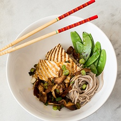 ... soba noodles, firm tofu, shiitake mushrooms, snow peas and scallions