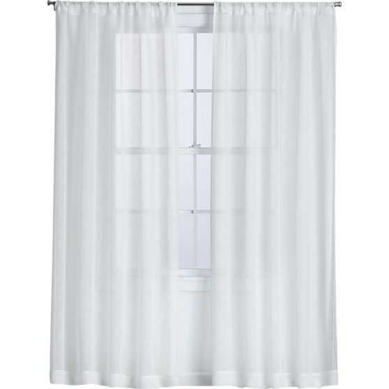 Linen Sheer White Curtain Panels in Curtains | Crate and Barrel 100 ...