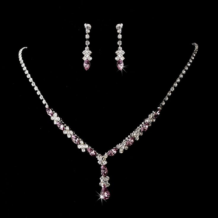 5 sets lilac light purple bridesmaid jewelry