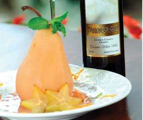 Pear Poached in White Wine with Caramel Sauce