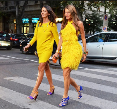 yellow dress purple shoes fashion
