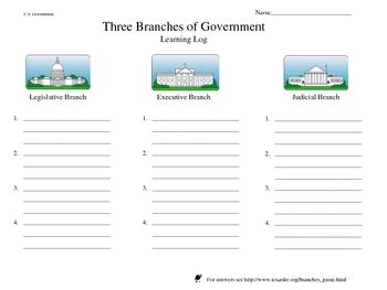 three branches of government learning log worksheet with website game. Black Bedroom Furniture Sets. Home Design Ideas