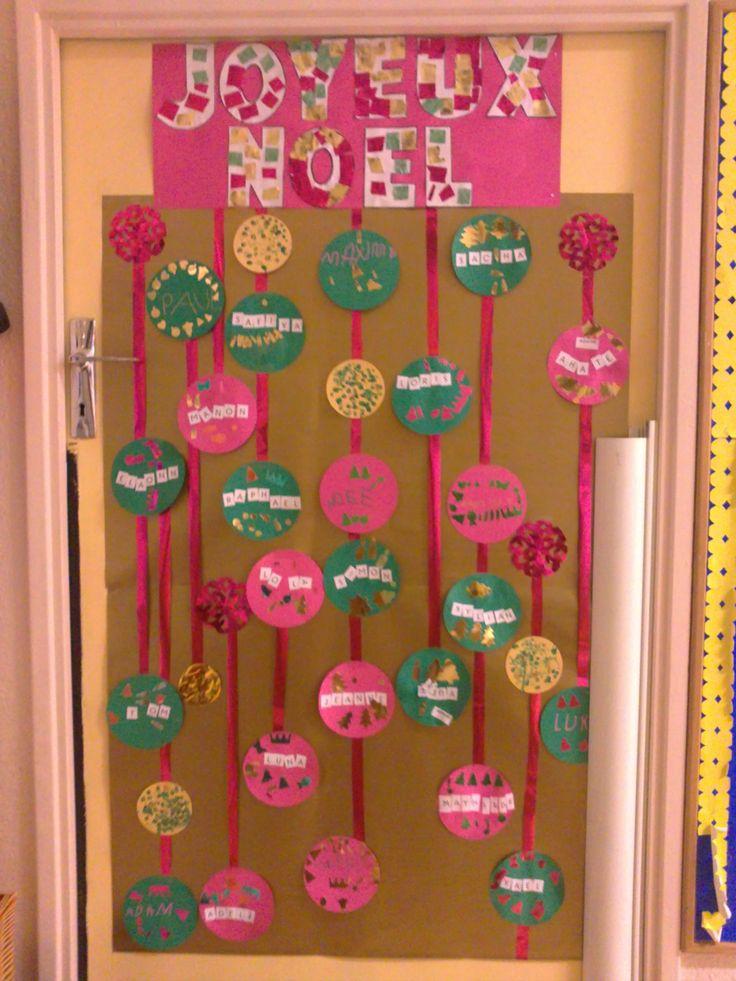 La porte de no l d coration pour la classe pinterest for Decoration porte classe noel