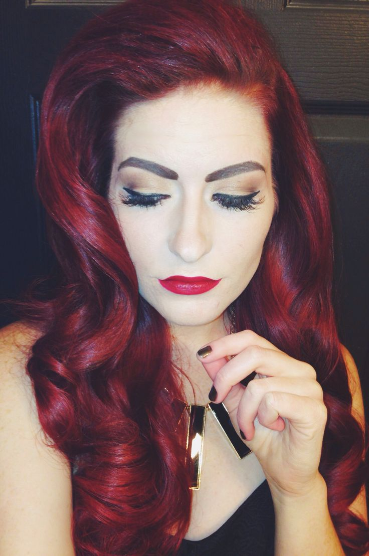 Pin up hair | Red hair | long hairstyles | wedding | formal | prom | curly | pin up | retro | pin curls | dark red | bright red | pin up makeup | wing eyeliner | red lipstick | eyelashes | redhead | eyebrows | thick hair