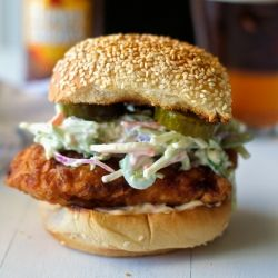 ... April cover of Fried Chicken Sandwich with Coleslaw and Spicy Mayo