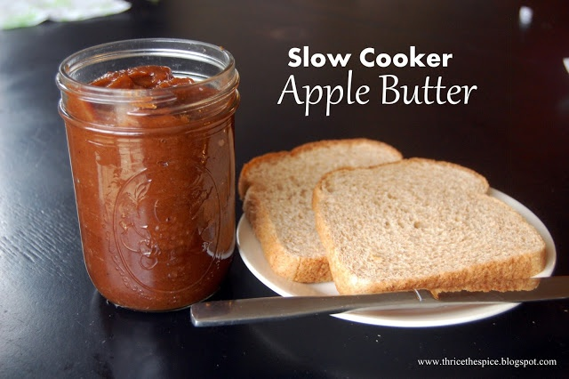 Slow Cooker Apple Butter - only 3 ingredients + spices.....really ...