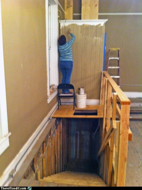 Painting High Stairwell Walls