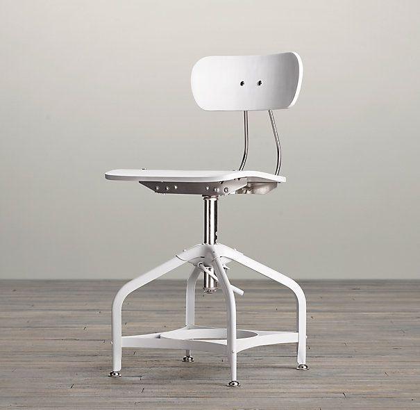 Vintage toledo dining chair white enamel design pinterest for Restoration hardware metal chair