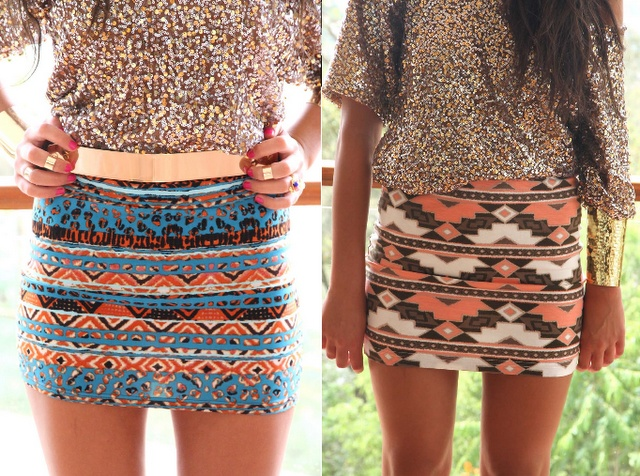 Aztec Patterned Skirts.