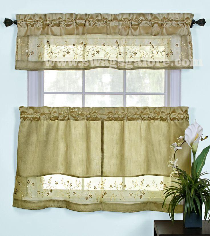 ... uniquely combine faux satin & embroidered voile. #Kitchen #Curtains