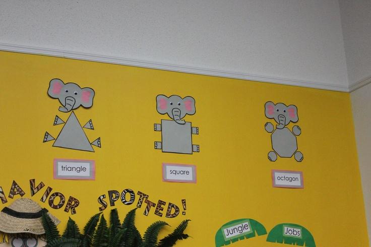 Elephant Classroom Decor ~ Jungle themed classroom shape elephants theme
