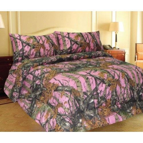 pink woods camo comforter and sheet set 7 pc bed in bag camouflage t