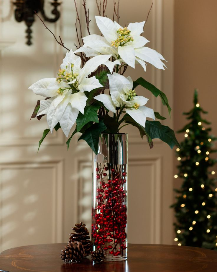 Tall poinsettia birch berries silk arrangement white for Poinsettia arrangements