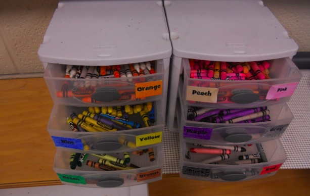 organize crayons by color ...