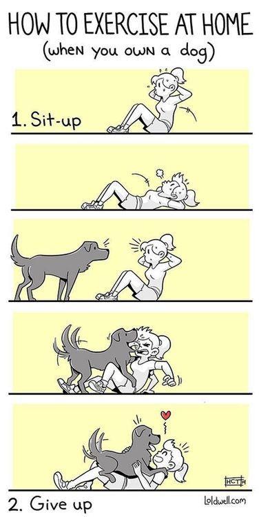 Πώς γυμνάζεσαι στο σπίτι, όταν έχεις σκύλο...